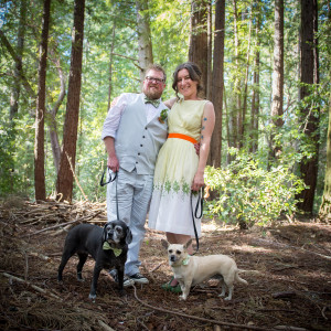 Forest Wedding Bride & Groom with Dogs